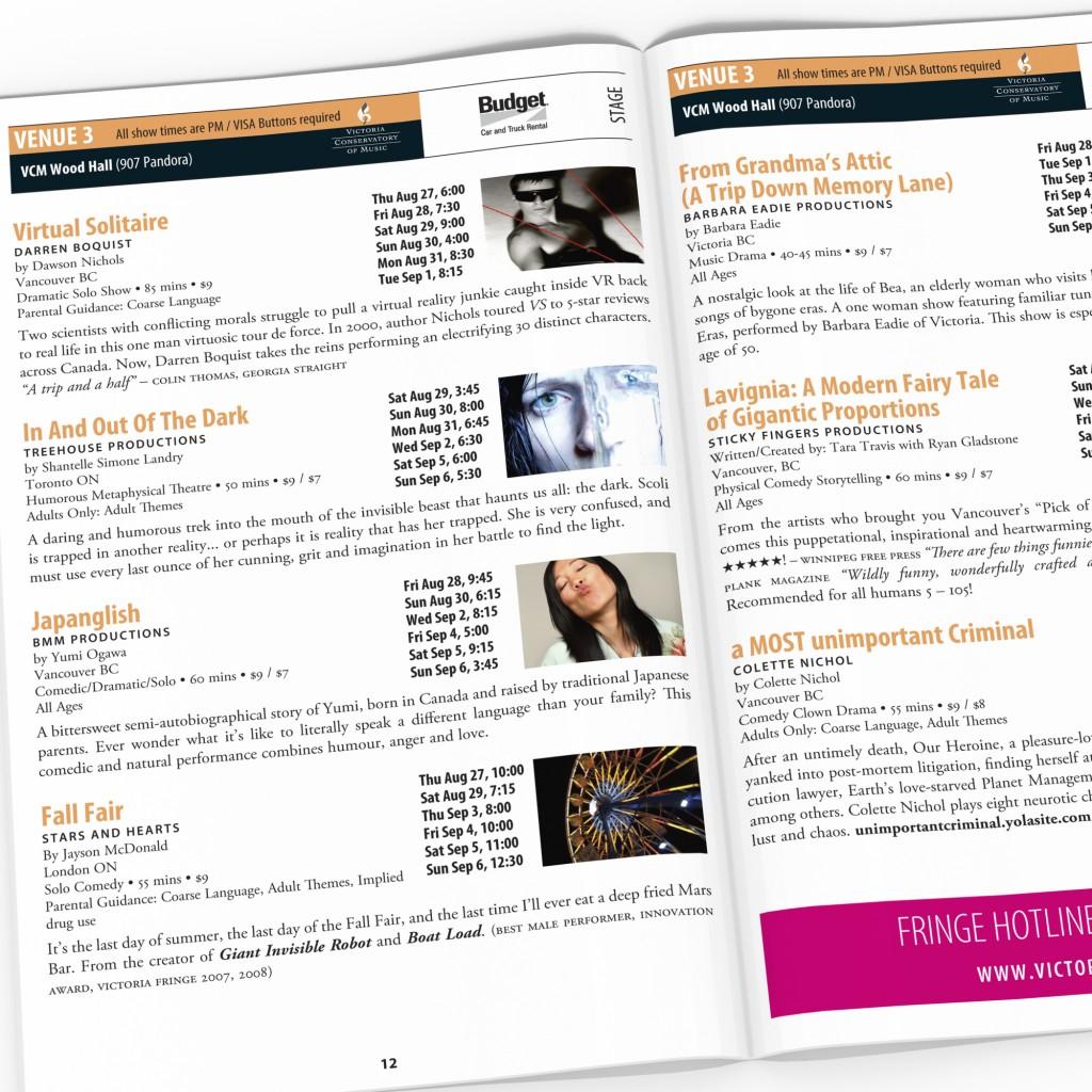Victoria Fringe Festival 2009 program spread