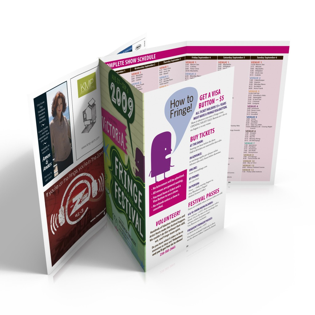 Victoria Fringe Festival 2009 program with double-gatefold schedule centrefold
