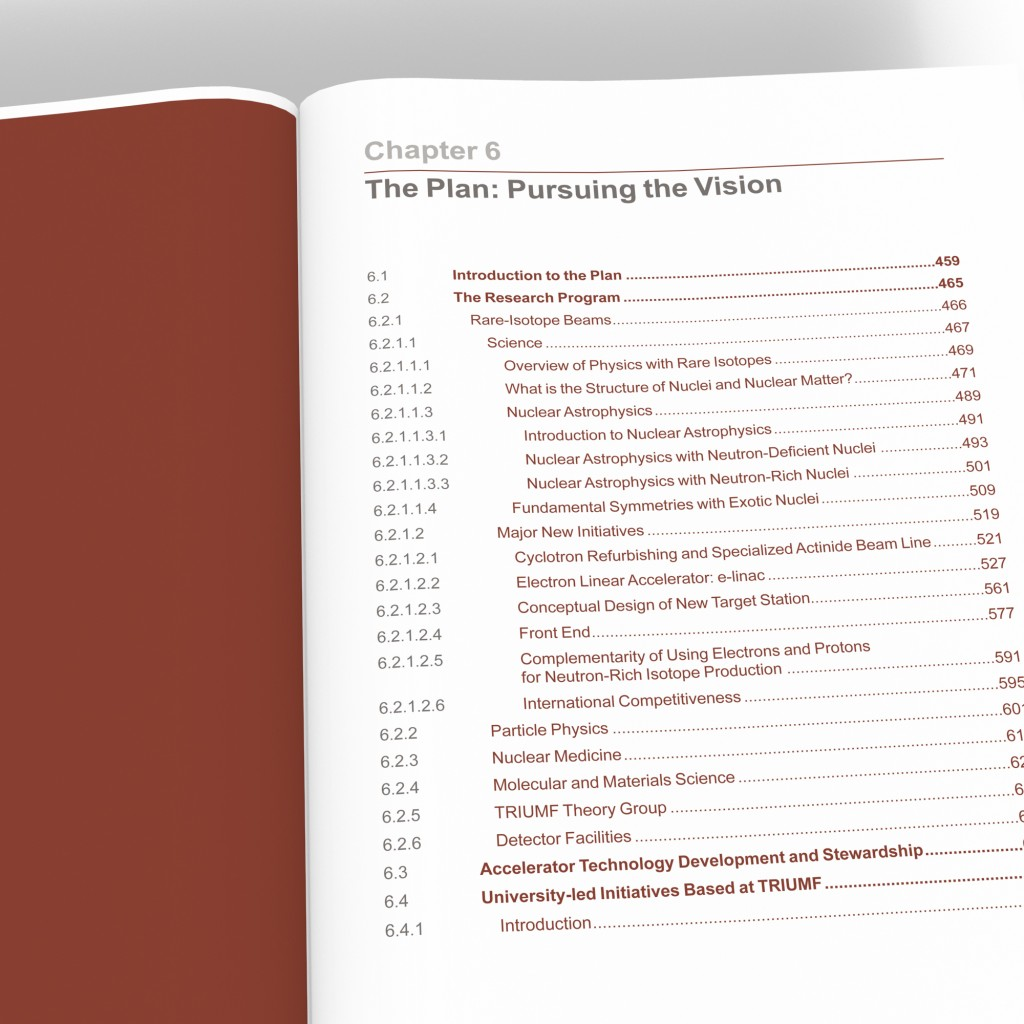 TRIUMF sample chapter table of contents spread