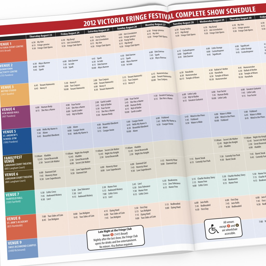 Victoria Fringe Theatre Festival 2012 program spread with schedule