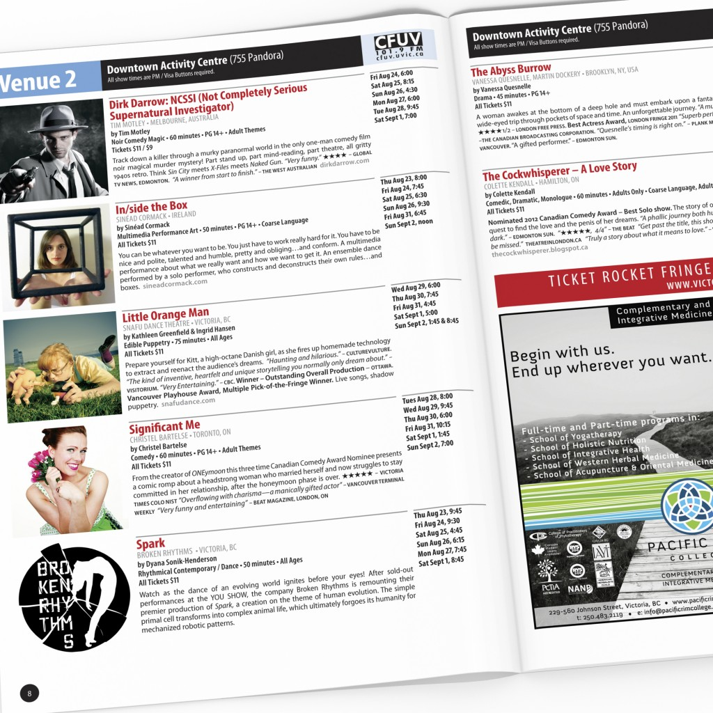 Victoria Fringe Theatre Festival 2012 program spread