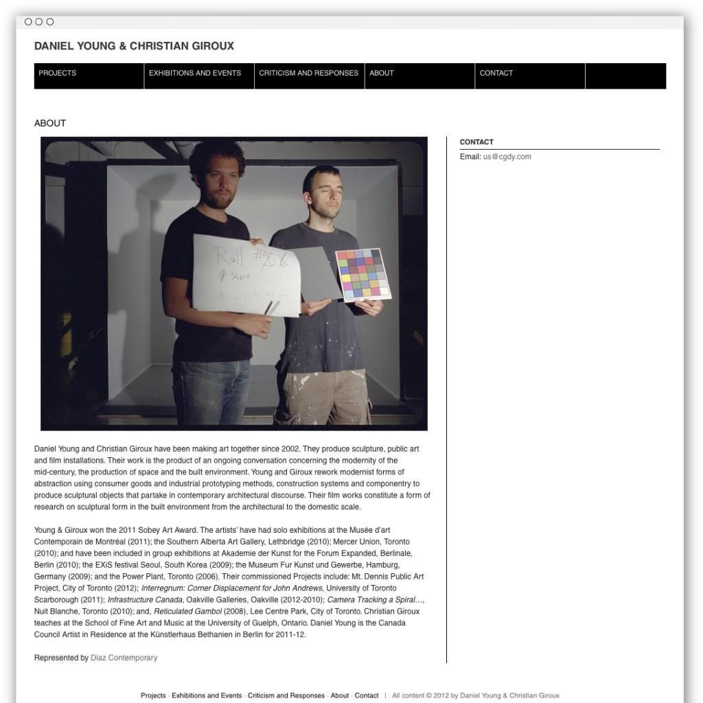 Christian Giroux & Daniel Young bio webpage