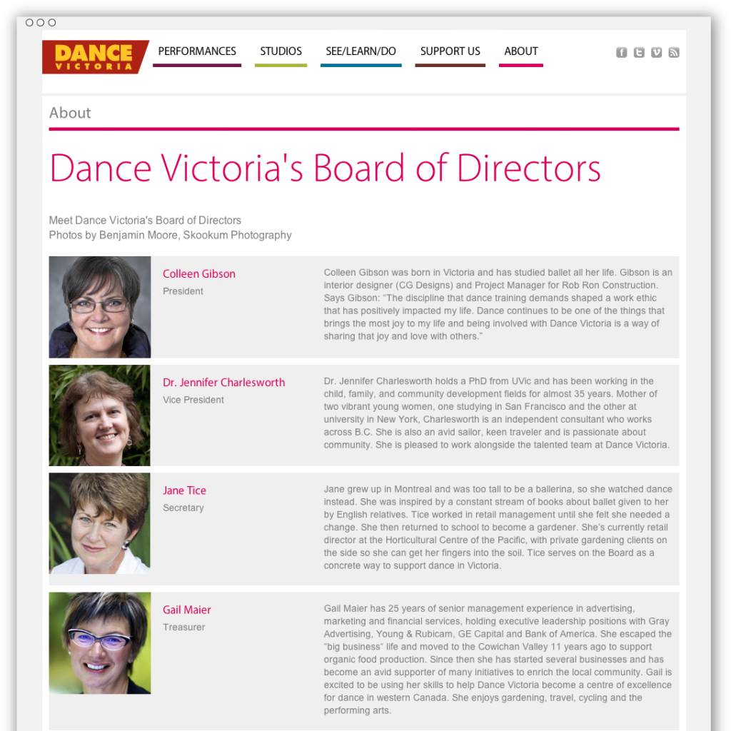 Dance Victoria directors webpage