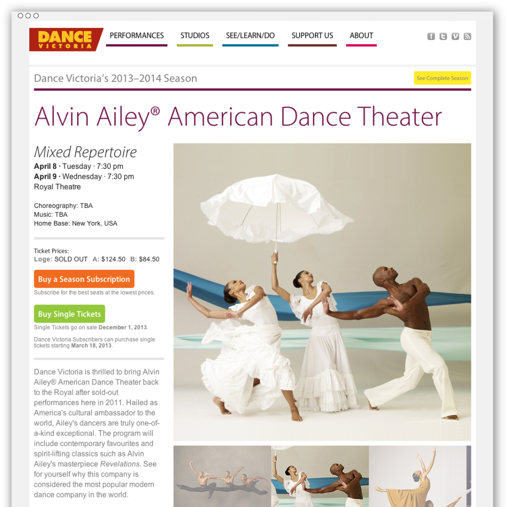 Dance Victoria performance detail webpage