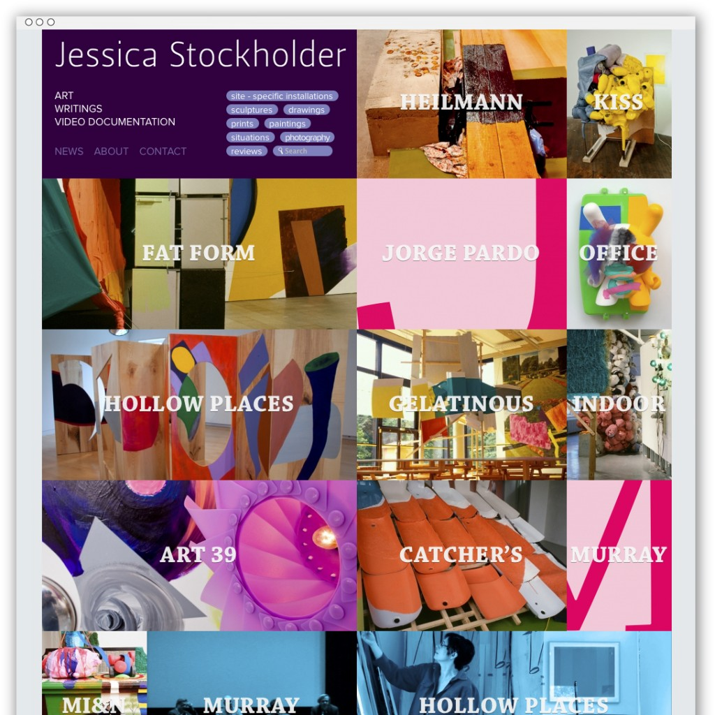 Jessica Stockholder homepage showing all works