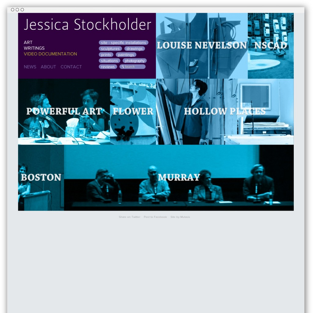 Jessica Stockholder videos webpage