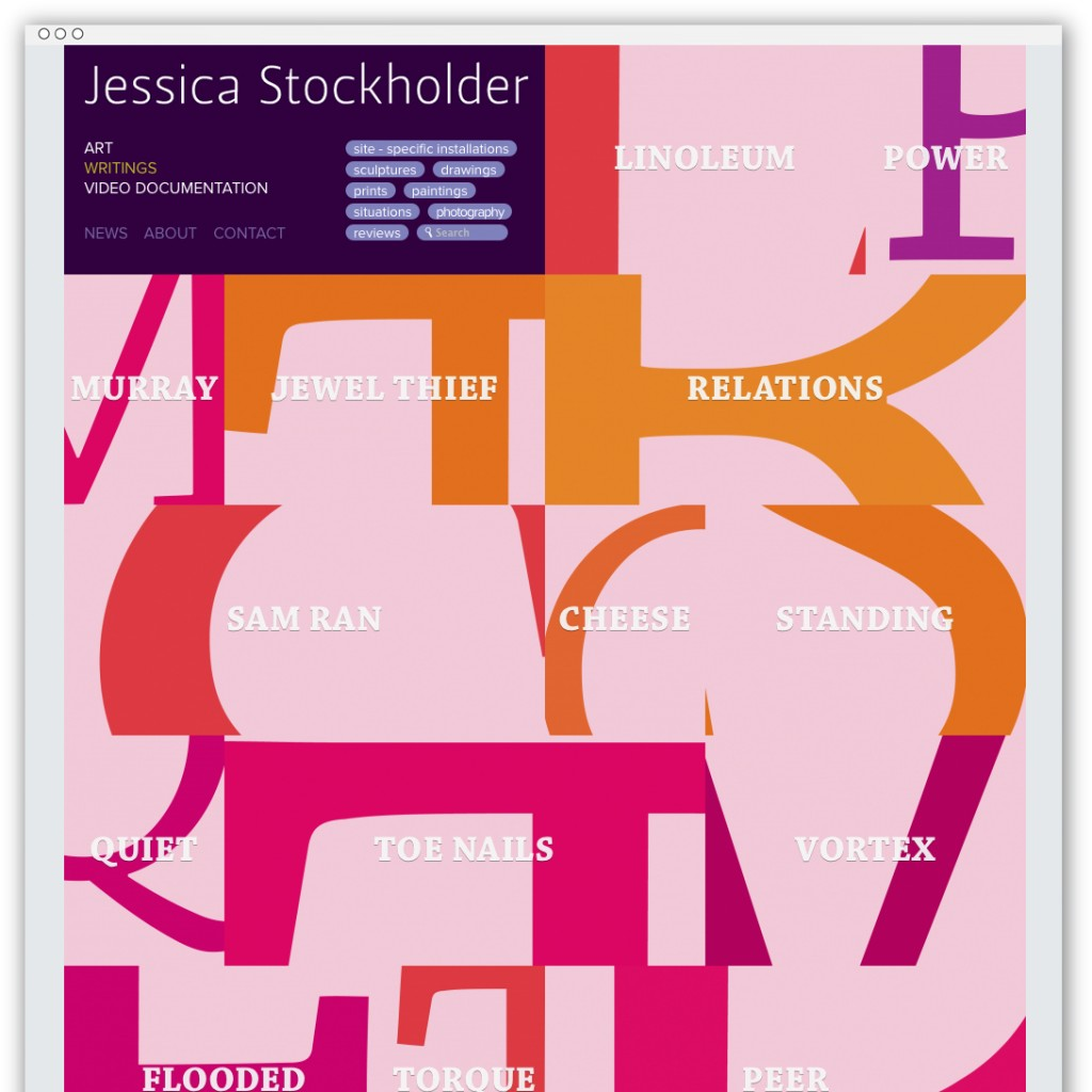 Jessica Stockholder writings webpage