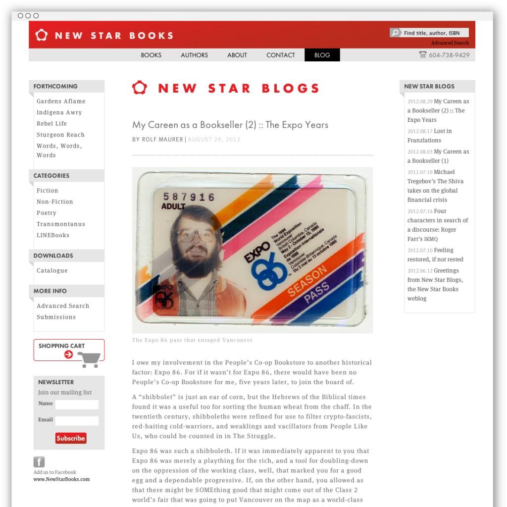New Star Books blog