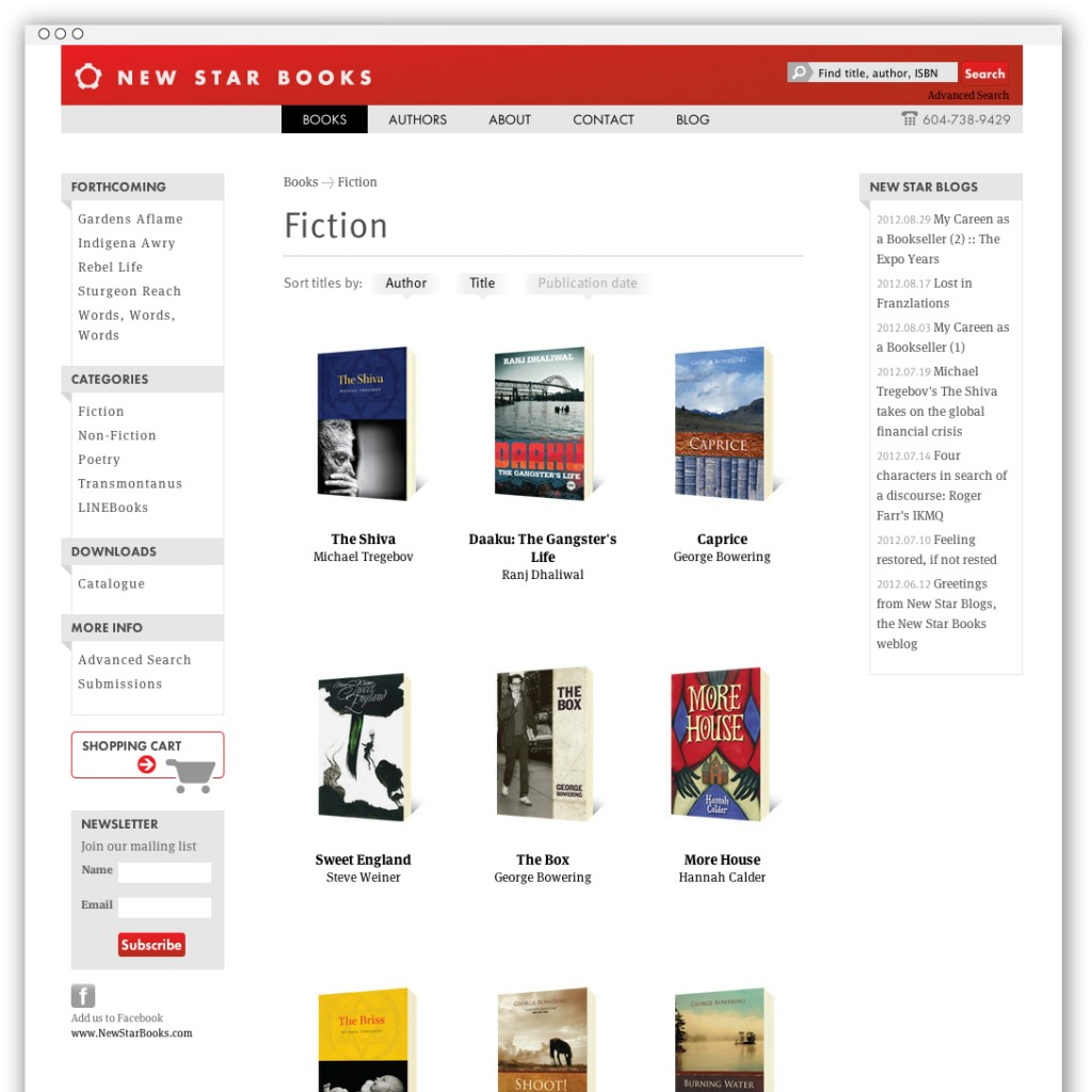 New Star Books fiction list webpage