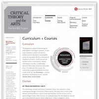 Critical Theory and the Arts curriculum webpage