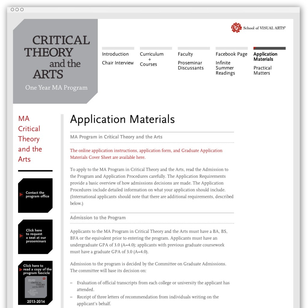 Critical Theory and the Arts materials webpage