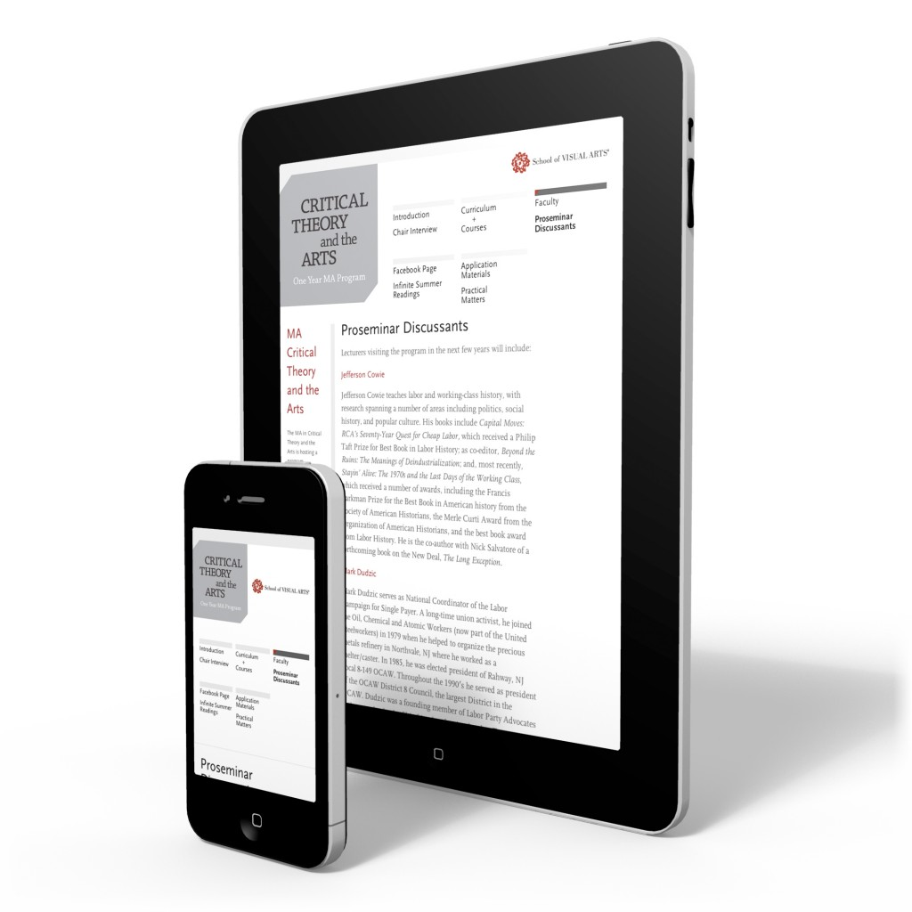 Critical Theory and the Arts responsive design for mobile devices