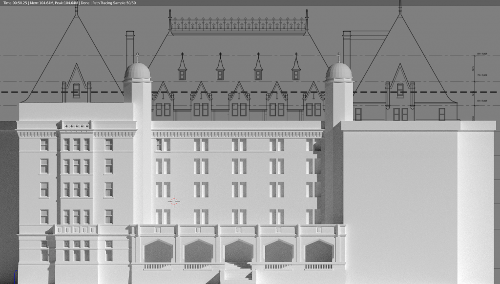 Empress Hotel 3D model in progress