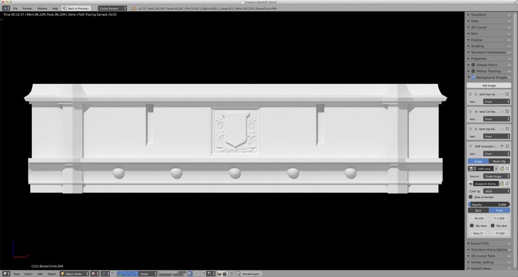 Empress Hotel 3D model in progress