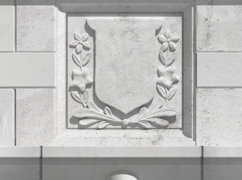Empress Hotel banner 3D model detail of stone balustrade finished artwork