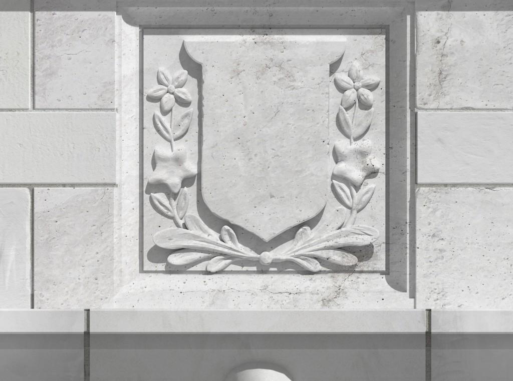 Empress Hotel banner 3D model detail of stone balustrade finished artwork