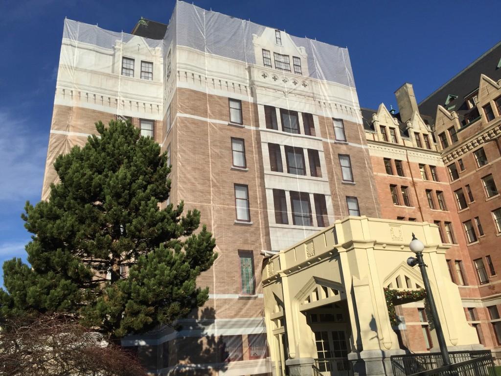 Empress Hotel banner installation