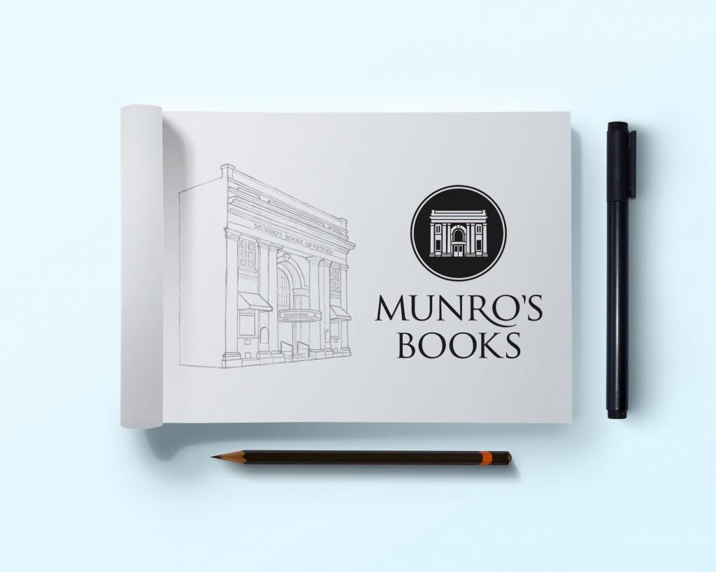 Munro's Books logo sketch in progress