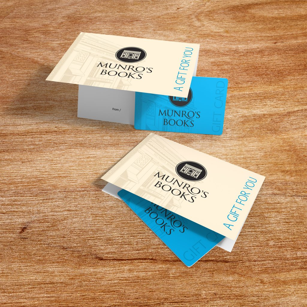 Munro's Books gift cards and holder